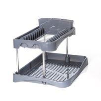 Secret De Gourmet - Égouttoir à vaisselle 2 niveaux gris en plastique