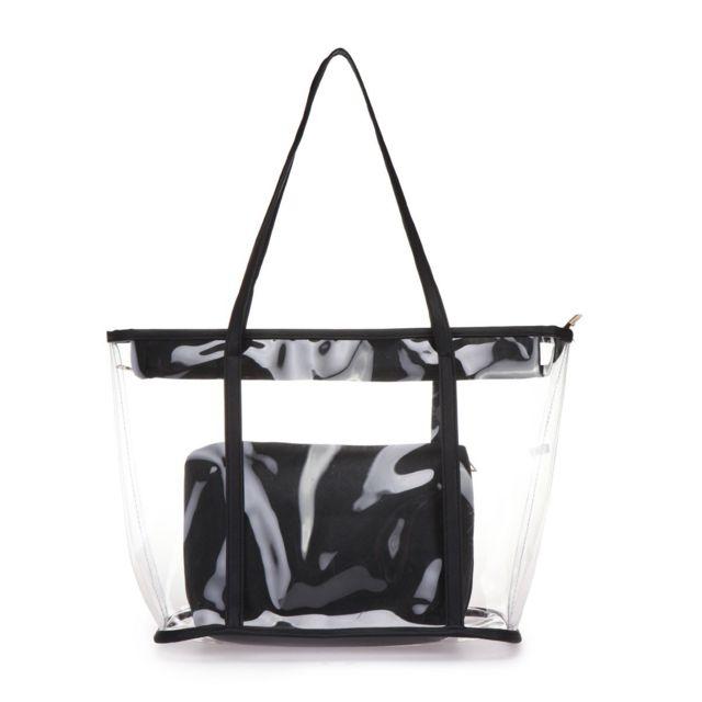 énorme réduction 07a59 31ae5 Lamodeuse - Sac cabas noir transparent avec pochette - pas ...