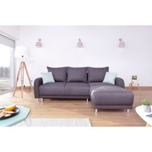 bobochic canap design d 39 angle r versible minty en tissu gris anthracite 90cm x 235cm x 94cm. Black Bedroom Furniture Sets. Home Design Ideas