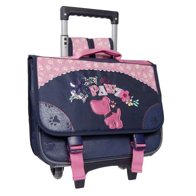 sélection premium 68087 183c1 CARREFOUR - Cartable à roulettes DOG - 38 cm - Bleu et rose ...