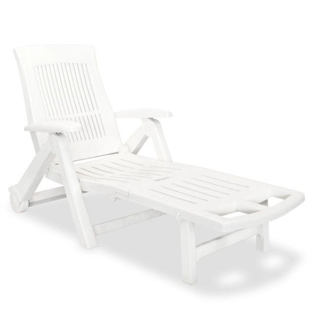 Casaria Chaise Longue Zircone Pliable Vert Plastique PVC Dossier r/églable 5 Positions 2 Roues Bain de Soleil Jardin terrasse ext/érieur