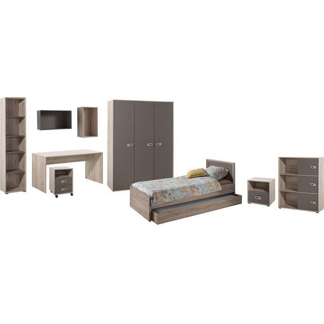 Comforium Ensemble ultra complet 9 pièces pour chambre moderne avec lit 90x200 cm chevet, armoire 3 portes, bureau, bibliothèque,