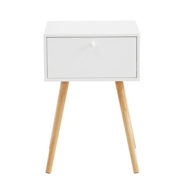 CHEVET HORTENSE Table de chevet scandinave blanc laqué satiné - L 40 cm