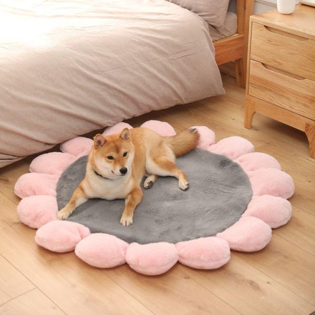 Wewoo Panier pour chien ou Chat Coussin Lit rond d'animal familier de peluche de de de fleur de fleurSpécifications 60cm Gris