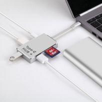 Wewoo - Pour Macbook / Pro / Huawei Matebook 6 en 1 Usb-c / Type-C vers Hdmi et 2 x Usb 3.0 Sd & Micro Sd Carte Adaptateur Hub avec Usb-c / Type-C de charge