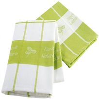 Douceur D'INTERIEUR - 2 Serviettes torchons jacquard 50 x 70 cm vert et blanc