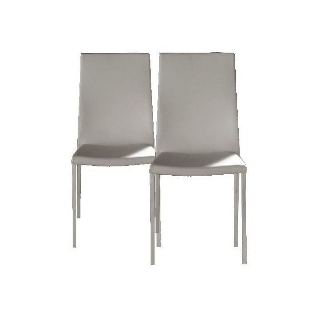 Inside 75 Lot de 2 chaises design Hellen en tissu enduit polyuréthane simili façon cuir blanc et acier blanc
