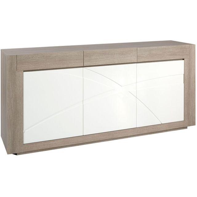 Comforium Bahut 210 cm contemporain avec 3 portes coloris chêne gris et blanc laqué