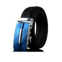 Blue Pearls - Ceinture Homme ajustable en véritable Cuir noir et Boucle en  Acier Bleu - 1050782474c