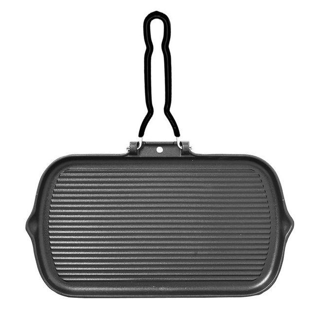 Chasseur Poêle grille en fonte avec poignée fil rabattable - Rectangle
