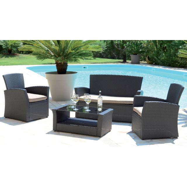 Pegane - Salon de jardin avec 4 places en aluminium coloris taupe ...