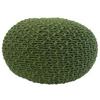 Overseas - Pouf tricoté 30 x 50 cm olive
