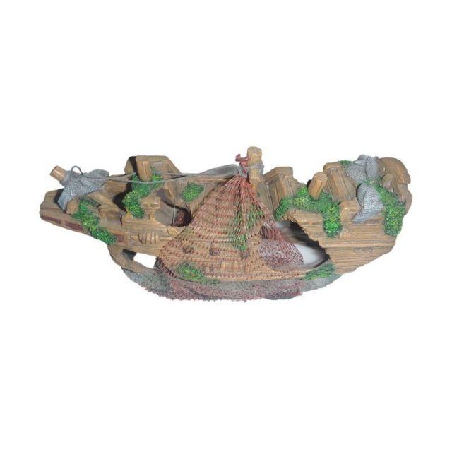 Le Poisson Qui Jardine Bateau Filet décor pour aquarium : 23 cm de long