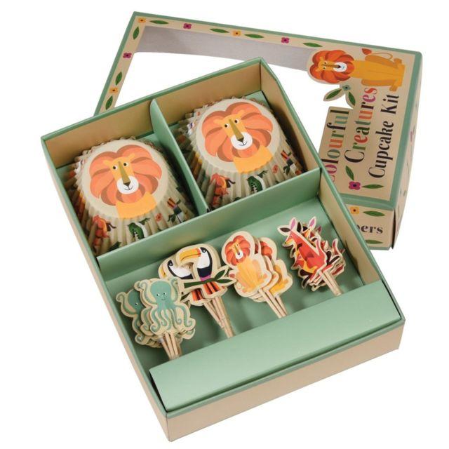 Dotcomgiftshop Kit Cupcakes Colourful Creatures 24 Caissettes + 24 Objets Déco