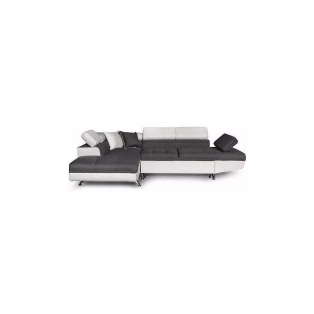 Sans Marque Futura Canape Dangle Gauche Convertible 4 Places + Coffre De Rangement - Tissu Gris Et Simili Blanc - L 272 X P 192 Cm