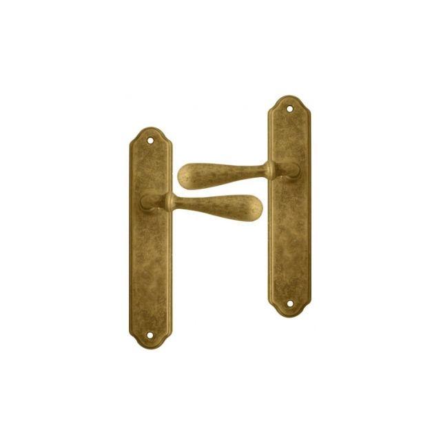 Ouvredeco . poignée de porte poignée de porte intérieure en laiton patiné antique sur plaque bec de cane entraxe 195 mm carina