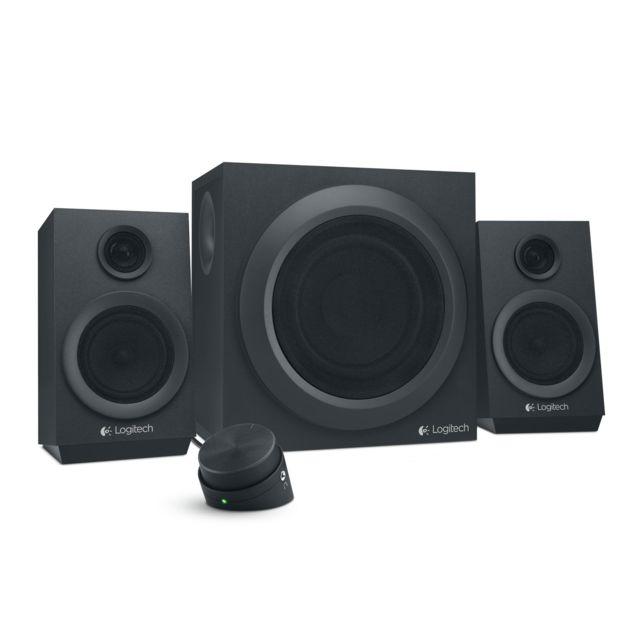 LOGITECH Z333 Multimedia Speakers Un son puissant, profond et clair pour votre musique, vos vidéos et vos jeux. Z333 produit une puissance de crête de 80 W et une puissance soutenue RMS de 40 W.