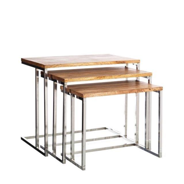 Tousmesmeubles Tables gigognes Bois/Acier - Juls