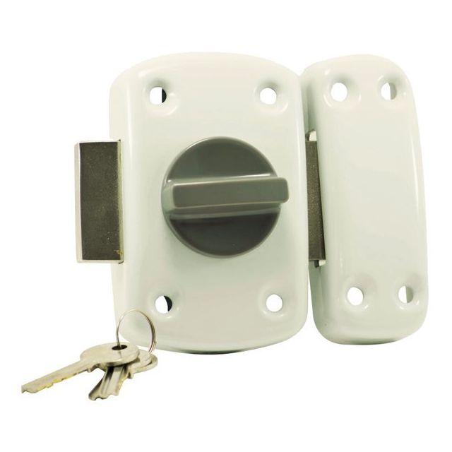 carmine verrou de surete a bouton blanc porte entree cylindre 45 mm gache reversible gauche. Black Bedroom Furniture Sets. Home Design Ideas