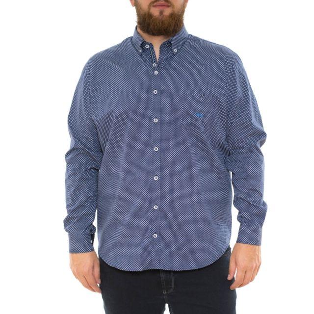 Dario Beltran Chemise bleu marine à petits motifs blanc
