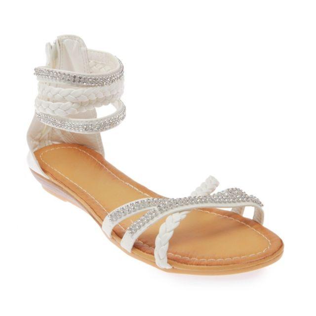 Lamodeuse - Sandales brides tressées   strass blanc - pas cher Achat ... 3e7c81793849