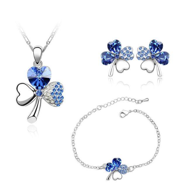 Blue Pearls - Parure Collier, Bracelet, Boucles d Oreilles Trèfle ornée de  Cristal ce65e3206bde