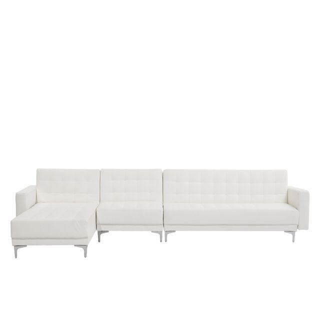 BELIANI Grand canapé d'angle à droite en simili-cuir blanc ABERDEEN - blanc