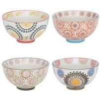Table Passion - Bol en céramique motifs bohèmes multicolores 26cl - Coffret de 4 Panama