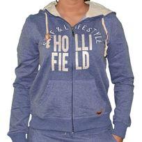 Hollifield - Sweat Zippé à Capuche - Femme - Hfs55 - Bleu Gris