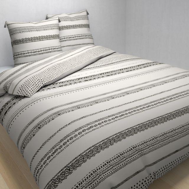 TEX HOME - Parure NEO TRIBAL housse de couette + 2 taies d'oreiller en coton Ecru - 220cm x 240 cm