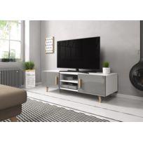 Vivaldi - Sweden 2 Meuble Tv style scandinave blanc mat avec gris brillant