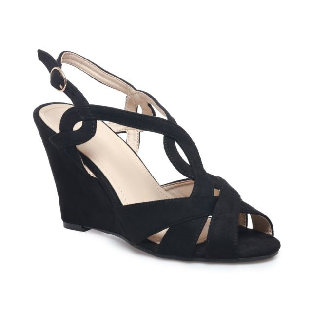 99f29ec242422 La Modeuse - Sandales compensées noires suédine multi-brides - pas ...
