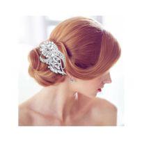 Blue Pearls - Accessoire de Mariage Peigne à Cheveux Fleur en Cristal Blanc - Mar 003 Z