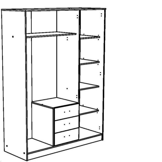 Last Meubles - Rangement 3 portes 3 tiroirs Tornade 55cm x 202cm x 148cm