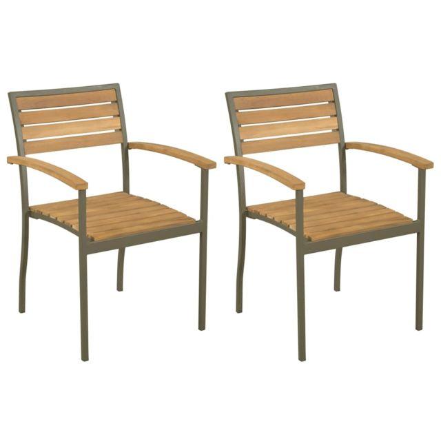 Chaise empilable 2 pcs Bois d'acacia massif et acier   Brun Sièges d'extérieur Chaises d'extérieur   Brun   Brun