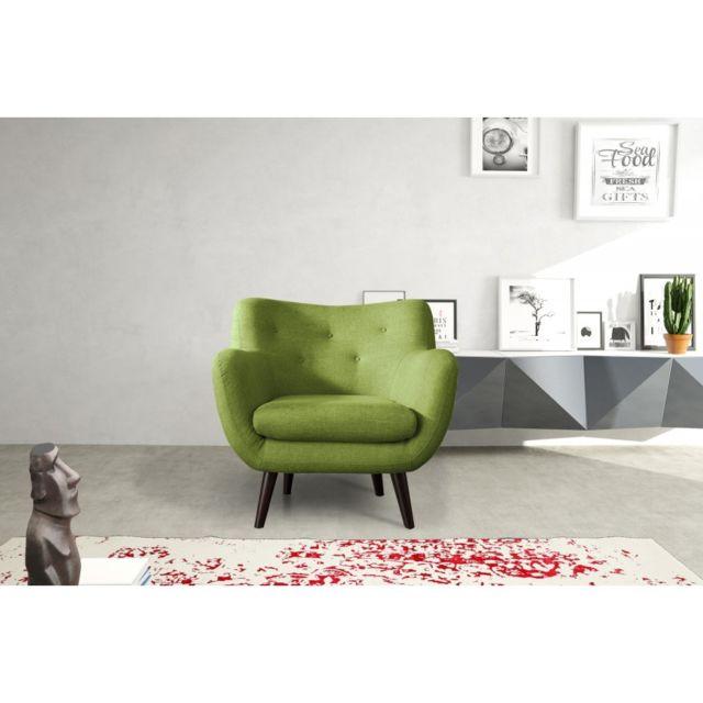 Rocambolesk Canapé Adele 1 sawana 08 vert avec pieds noir sofa divan