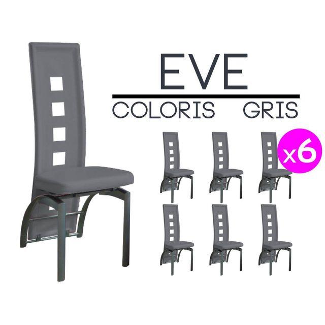altobuy eve lot 6 chaises grises pas cher achat vente chaises rueducommerce. Black Bedroom Furniture Sets. Home Design Ideas