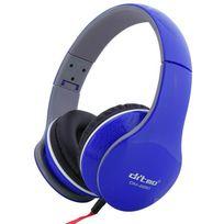Yonis - Casque audio pliable arceau stereo réducteur de bruit Jack 3.5mm bleu