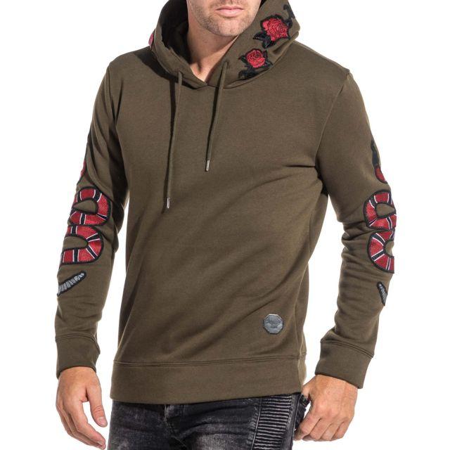 Project X - Sweat capuche hoodie snake et rose homme kaki Vert - L ... a745dbde4498