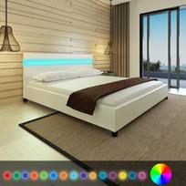 Rocambolesk - Superbe Lit en cuir artificiel blanc avec tête de lit Led 200 x 180 cm neuf
