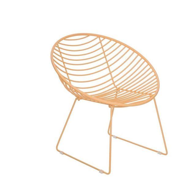 Ma Maison Mes Tendances Lot de 2 fauteuils de jardin en métal jaune Alinio - L 36.5 x l 42.5 x H 74