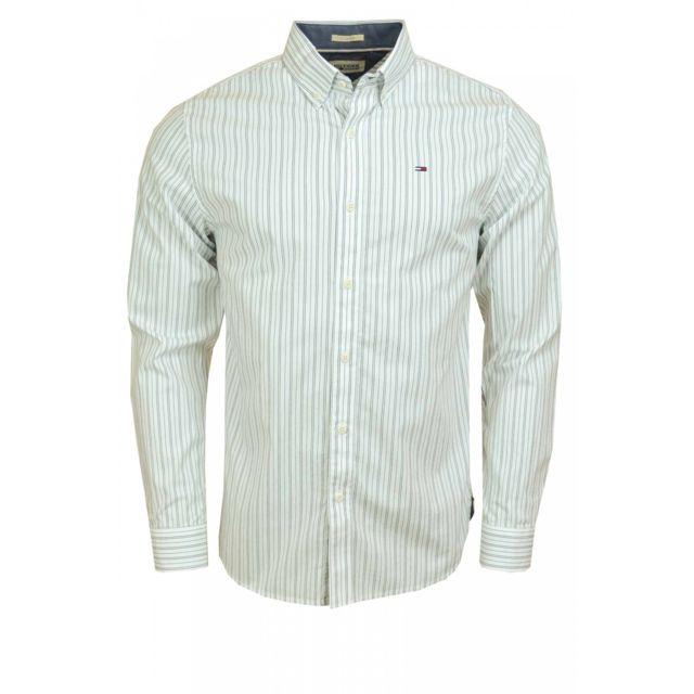 Tommy hilfiger - Chemise Dénim Thomas rayée blanc gris pour homme XL - pas  cher Achat   Vente Chemise homme - RueDuCommerce fdf807a720d4