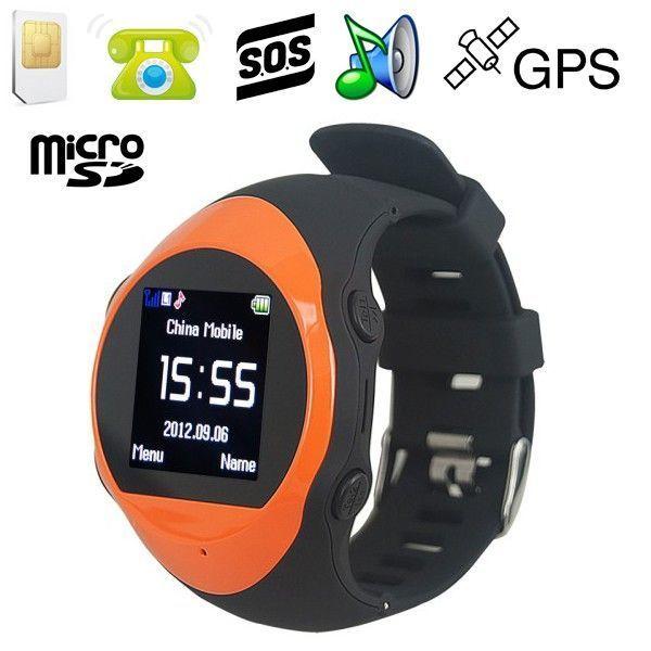 Yonis Montre Gps alarme mini téléphone kit mains libres lecteur Mp3 orange