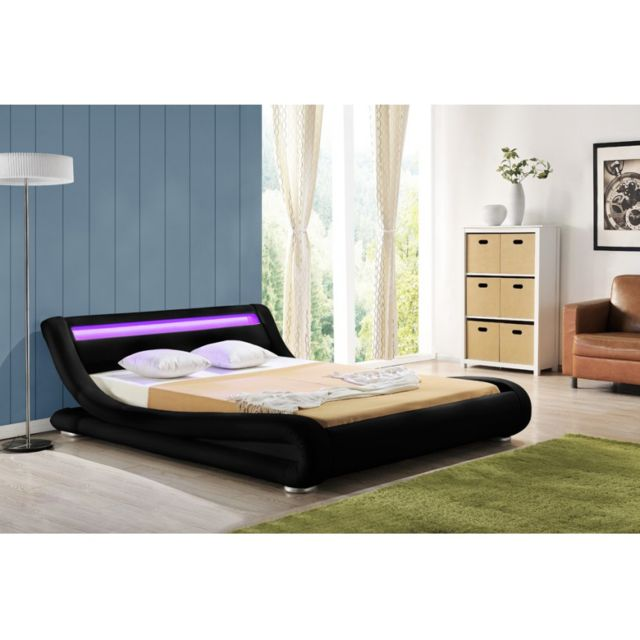 envie de meubles lit 140x190 simili cuir noir avec clairage led luminosa pas cher achat. Black Bedroom Furniture Sets. Home Design Ideas