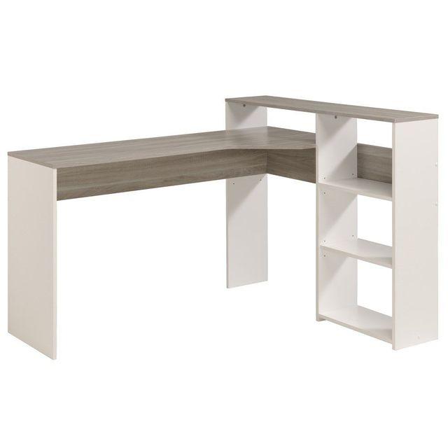 Comforium Meuble Bureau Moderne Avec Etagere Coloris Blanc C