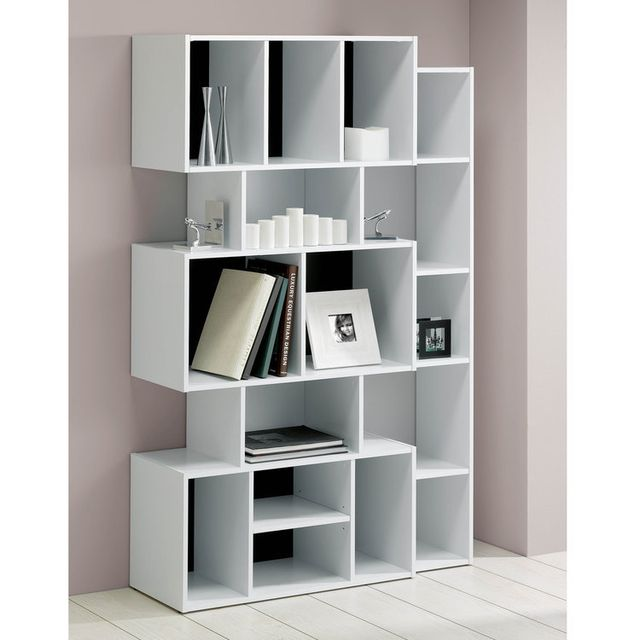 Alsapan Etagère design en bois blanc 16 niches Frame