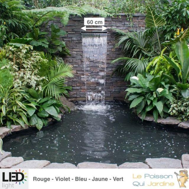 Le Poisson Qui Jardine Cascade, Lame D'Eau 60 cm Inox + Led Couleur Pour Bassin De Jardin