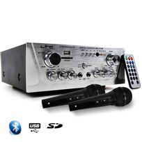 Ltc Audio - Amplificateur Hifi Stéréo Karaoke Usb/BLUETOOTH/SD 2x50W + 2 Microphones noir