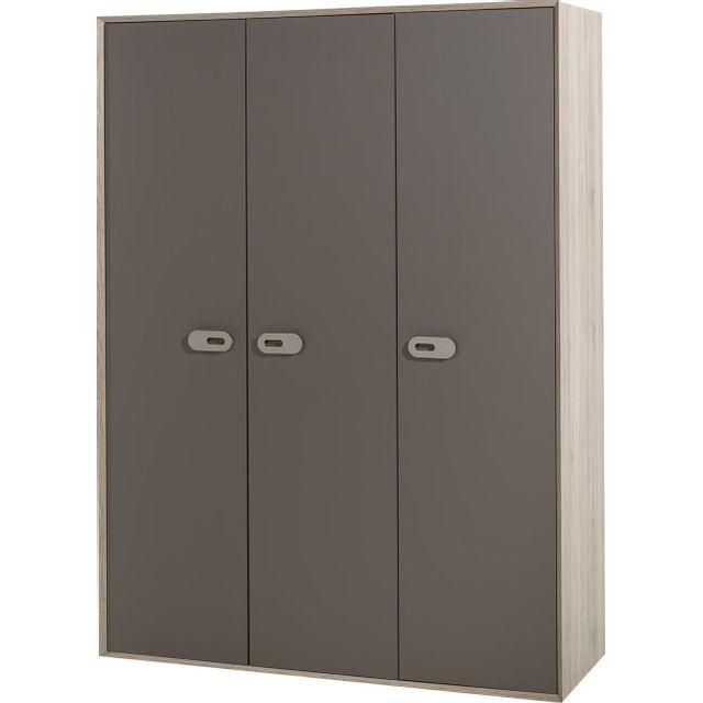Comforium Armoire 154 cm à 3 portes coloris chêne marron
