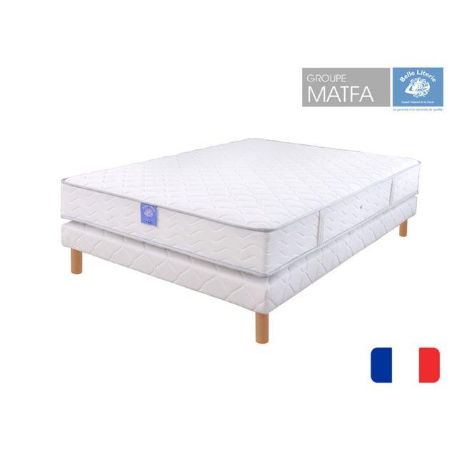 belle literie ensemble matelas passion visco sommier tapissier 140x190 blanc pas cher. Black Bedroom Furniture Sets. Home Design Ideas
